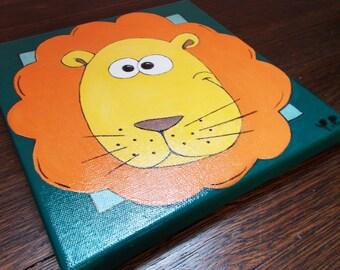 "Original  Painting, ""Lion"" Acrylic on Canvas, 8"" x 8"", Nursery Decor, Kids Wall Art, Baby Shower Gift Idea!"
