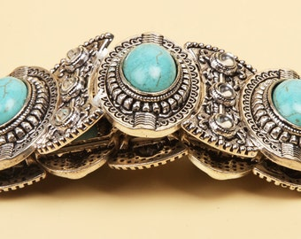 1 Worked in USA,  A fine Silver& turquoise bracelet, as inspired by the Anasazi Indians of the Southwestern American Chaco Canyon