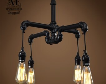 Industrial Iron pipe light Edison chandelier vintage Industrial, Antique Edison Bulb,  Lamp, Rustic Lighting