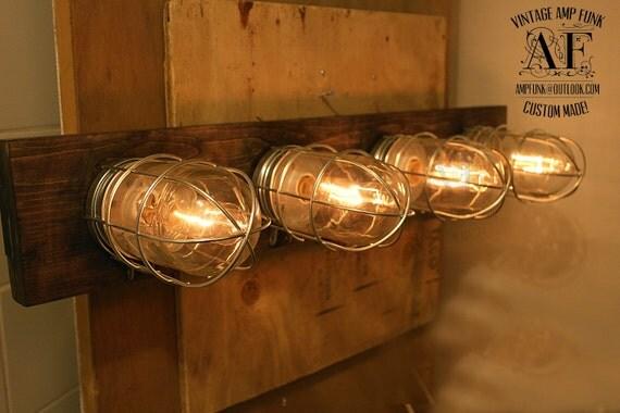 Vanity Light Bar Wood : Nickel Industrial cage glass bathroom Vanity Bar by VintageAmpFunk