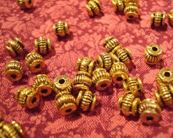 72 Antique Golden Lantern Spacers 5x5mm. Fluted Pot Belly Vintage Style. Gold Finished Chinese Pewter ~ USPA Ship Rates from Oregon