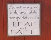 "Leap of Faith Sign Wood Sign Inspirational Wall Art Large Wooden Sign Wall Decor  25""x25"""