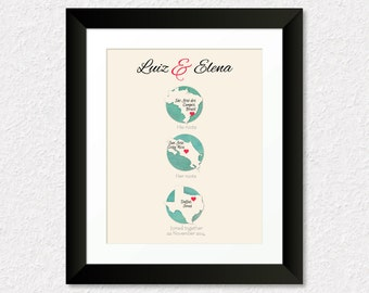 Custom Wedding Gift, Personalized Gift for Couple, His Roots, Her Roots, Where they Met, Where they Married, Choose Any Three Places, 18a