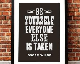 Oscar Wilde quote print, literary art print, Oscar Wilde print, typographic print, quotation, literary inspired print