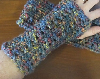 Gray Fingerless Gloves with Rainbow Accents