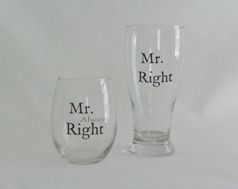 Gay Wedding/Gay Engagement Mr. Right & Mr. Always Right Glass Set