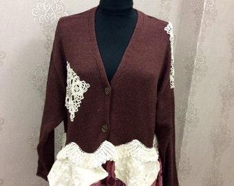 Upcycled Clothing Boho Clothing Upcycled Sweater Tunic Bohemian Sweater Upcycled Recycled Repurposed Wearable Art Lagenlook Gypsy Cardigan