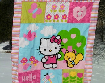 Spring Time Hello Kitty- Baby Girl Quilt