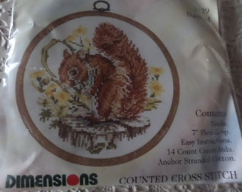 """Cross stitch kit,  complete Picture of a squirrel,   Dimensions,  British Collection,   Comes with 7"""" flexiframe everything included"""