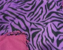 Purple Zebra Braided Fleece Baby Blanket