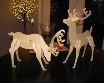 Small Wooden Reindeer | Unpainted | Birch | Christmas Decoration