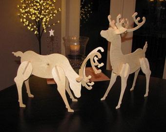 Small Wooden Reindeer   Unpainted   Birch   Christmas Decoration