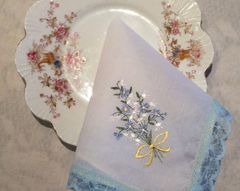 Beautiful Blue Posies Handkerchief - Handmade by The Clever Cottage