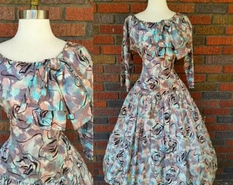 50s Floral Dress Circle Skirt with Detachable Bow S