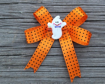 Halloween Ghost Orange Ribbon Hair Bow Clips, Barrettes for girls toddlers tweens teens - Orange black Polka Dot bow w/ Friendly Ghost