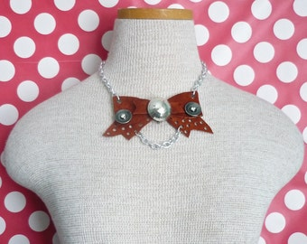 Punched Leather Bow NECKLACE - Metal Chain and Disco Detail - OOAK - Handmade in USA