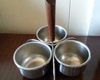 Mid-Century Danish Modern Stainless Steel Condiment Bowl set