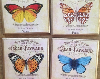 COASTERS!! Beautiful set of Butterfly Coasters with Gold Trim
