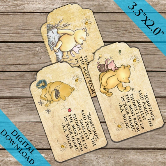 Winnie The Pooh Gift Tags Digital Download Printable Thank