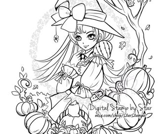 Pumpkin Witch - DIGITAL STAMP Lineart Coloring Instant Download