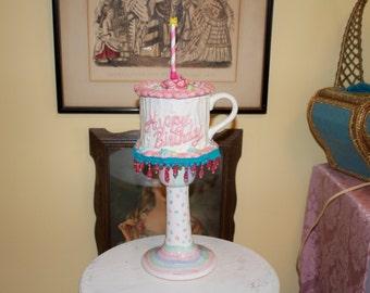 Happy Birthday Tea Cup Centerpiece, Wonderland Mad Hatter Tea Party Decoration