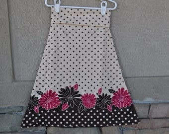 NEW SALE PRICE!! Girls and Toddlers Maxi Skirt-Cream and Brown Polka Dot