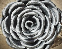 Silver Large Crepe Paper Rose, Wedding Bouquet, Wedding Flowers Christmas Decorations