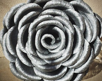Silver Large Crepe Paper Rose, Wedding Bouquet, Wedding Flowers Christmas Decorations, Giant Paper Flowers