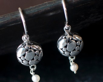 Sterling Silver Organic Circle and Freshwater Pearl Earrings