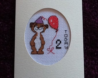 Lovely Handmade Cross Stitch Girl Meerkat Birthday Card  - *Choice of Age*