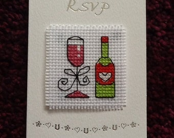 Lovely Handmade Cross Stitch RSVP Card