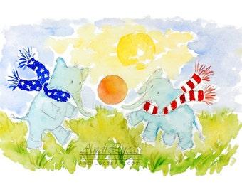 Original signed watercolor watercolour painting nursery fantasy art soccer football elephant rainy day illustration illustration