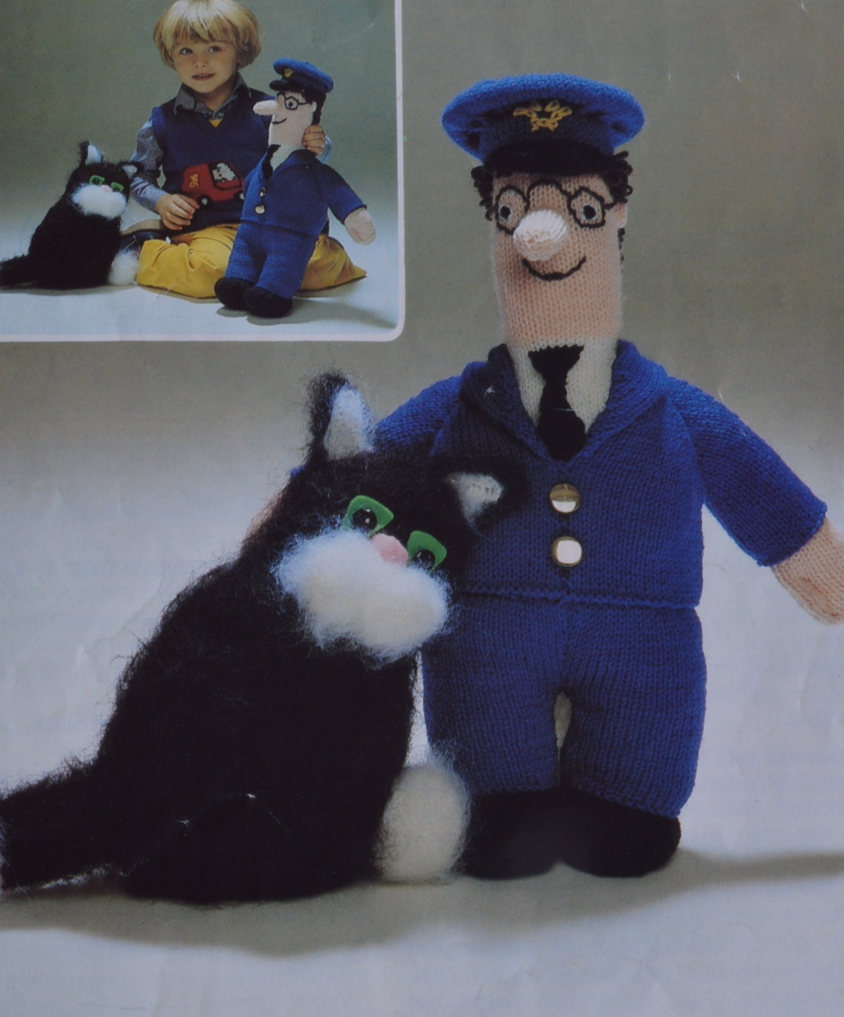 Easy Knitted Headband Free Pattern : PDF knitted Postman Pat and his cat pattern vintage knitting pattern pdf down...