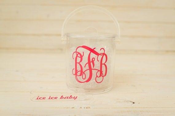 monogrammed ice bucket with tongs