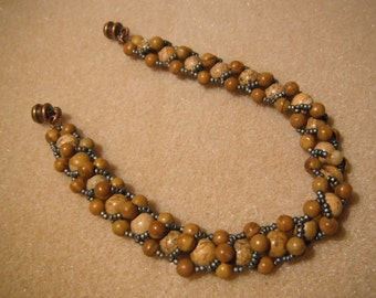 Semi-Precious Desert Jasper with Metallic Gray Seed Beads and Copper Magnetic Clasp