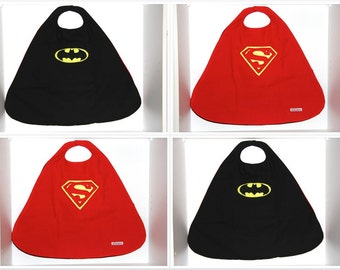 Superhero Cape Superman Batman Reversible Cape. Able to be personalised with initial. Perfect present for the little superhero in your life!