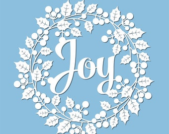 Papercut template holly wreath with Joy