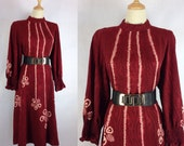 Beautiful Vintage 70s Japanese Tie dye Dress Burgundy Loose cut Cocktail Dress Made in Japan Large size US size 14/16