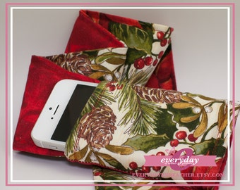dSLR Camera Strap Cover - Red Swirls & Christmas Poinsettias