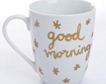 Good Morning coffee mug - gold leaf