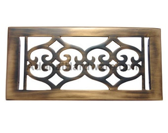 """Flower Brass Wall Register with Louver - 4"""" x 10"""" (5-5/8"""" x 11-1/2"""" Overall)"""