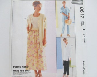McCall's Sew News 8617 ~ Womens' Classic, Casual and Comfortable Shirt, Pull-on Pants and Skirt SIZE 16-18-20 UNCUT 1997 Sewing Pattern