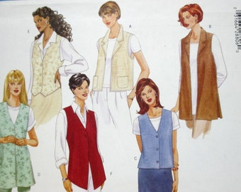 Butterick 5558 ~ Two Hour Fast & Easy Vests with Low Armholes SIZE 8-10-12 UNCUT Sewing Pattern