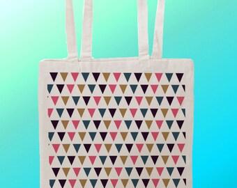 Aztec trangles pattern - Reuseable Shopping Cotton Canvas Tote Bag