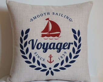Voyager pillow cover, Nautical boat pillow cover, beach style pillow cover