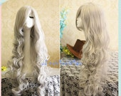 90cm Long Angel Sanctuary Rosiel Wavy Silvery White Anime Cosplay, Costume Wigs for Party UF027