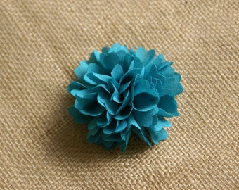 Fabric Peony - Chiffon Fabric Flower Embellishment - Teal - 2 pieces