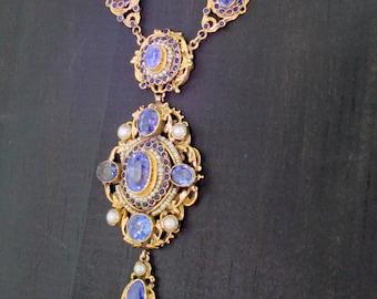 Austro Hungarian Natural Sapphire & Pearl Necklace, circa 1910