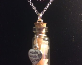 Mixed Moonstone Filled Tiny Glass Vial Pendant with Sterling Silver Chain