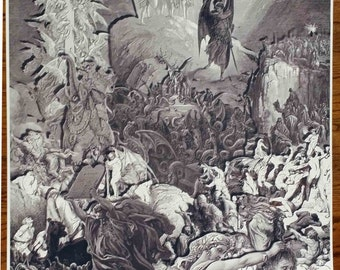 "Gustave Dore Print Remix of Art Scenes from ""Divine Comedy"", ""Paradise Lost"" and ""The Crusades"" Full Size 36""x24"" Poster Print"